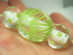 Moogin Beads- Lime green and white lampwork / glass bead set - SRA Spring Green, Lampwork Beads, All The Colors, Color Schemes, Glass Beads, Lime, Shapes, Pattern, Handmade