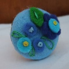 Hand Embroidered Felt Flower Ring Soft Blue by brocobelle on Etsy, £10.00