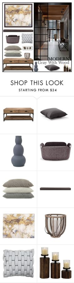 """Modern Gray With Wood"" by loveartrecyclekardstock ❤ liked on Polyvore featuring interior, interiors, interior design, home, home decor, interior decorating, Murphy, Zuo, Mitchell Gold + Bob Williams and Muuto"