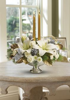 Silver and gold decorations - Teleflora's Silver and Gold Centerpiece