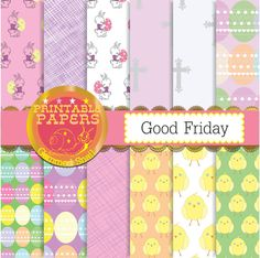Easter digital paper, easter backgrounds & Friday& set with crosses, easter bunnies, easter eggs and chicks Easter Bunny, Easter Eggs, Easter Backgrounds, How To Purl Knit, Knit Purl, Digital Scrapbook Paper, Good Friday, Background S, Pastel Colors