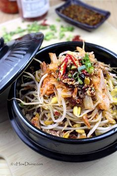 Soybean Sprout Rice Bowl by cHowDivine.com {If you love bibimbap, you'll love this - the other popular Korean rice bowl!}