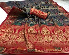 Items similar to Heavy panetar silk saree / nevi blue n red saree / wedding saree / designer saree / saree for women / indian saree / saree blouse / saree on Etsy Banarasi Sarees, Silk Sarees, Sharara, Saris, Indian Lehenga, Red Lehenga, Anarkali, Red Saree Wedding, Ghaghra Choli