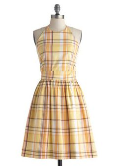 BOUGHT IT - Stroke of Luxe Dress in Plaid. Its no accident that you fall in love with this cotton dress - found exclusively at ModCloth - each time you slip it onto your frame! #yellow #modcloth