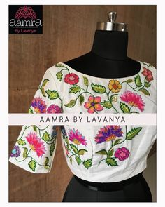 Beautiful white color designer blouse with floral design hand embroidery thread work. White Blouse Designs, Cotton Saree Blouse Designs, Best Blouse Designs, Bridal Blouse Designs, Kurta Designs, Modest Fashion Hijab, Stylish Blouse Design, Designer Blouse Patterns, Hand Embroidery