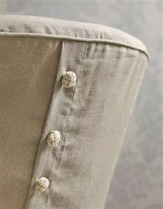 Parson slipcover with mock button closure.  Zipper instead