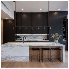 Chic Modern Kitchens That Still Feel Warm and Inviting #kitchen #ideas #modern #contemporary From whimsical to sophisticated. Interior Design Minimalist, Interior Design Kitchen, Home Design, Diy Interior, Modern Design, Design Design, Design Elements, Coastal Interior, Modern Decor
