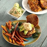 Yamburgers with Sweet Potato Fries.  Great meal idea, just dont confuse the two.  Big difference between a yam and a sweet potato.  Yams will make a fine grilling burger but use sweet potatoes for fries.  Switch the two and you get a plate of mush.