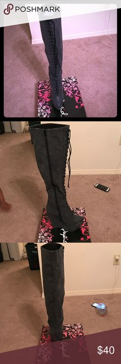 Knee high wedge boots Brand new inside box never worn. Shoes Heeled Boots