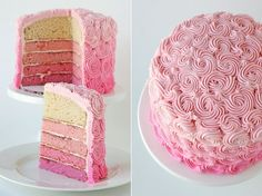 Beautiful pink layer cake.