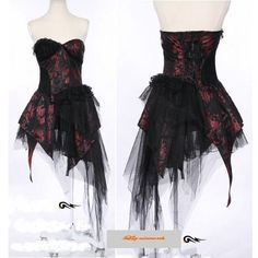 I found 'Red Black Strapless Short Emo Goth Burlesque Wedding Cocktail Dresses SKU-11402098' on Wish, check it out!