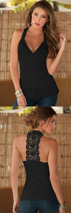 Lace Tank Top: From a day of shopping to dinner the Good Night Kiss Lace Back Tank is perfect to take any outfit to the next level. The front features a V neck with wrap around straps that merge into a gorgeous lace back. TheChicFind.com