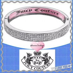 """Juicy Couture Crystal Silvertone Bangle Bracelet HPNWT Juicy Couture dazzling simulated clear crystal white gold tone bangle bracelet will glamourize any look!  *PLEASE DON'T BUY LISTING, COMMENT & I'LL CREATE YOUR LISTING *Length 8.25"""", """"Juicy Couture"""" pink interior inlay *Bangles pictured above available to purchase & bundle! *Bundle Discounts, Smoke-Free, No Trades Juicy Couture Jewelry Bracelets"""