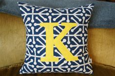 K monogrammed pillow case, 20x20, navy, any letter available