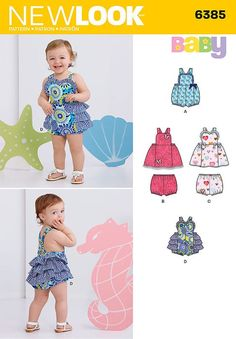 romper for babies' can have trim and bow in one fabric, or contrast ruffles and sweetheart neckline. dress can be made with butterfly appliques and trim, or with sweetheart neckline, ruffle and bows. panties included.: