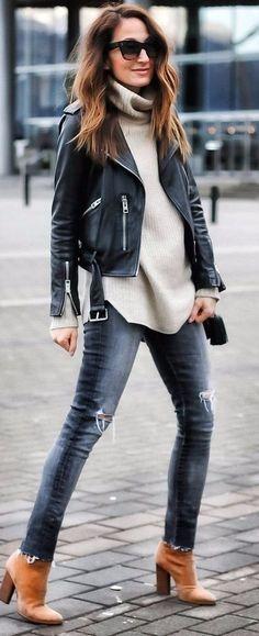 workwear leather jacket + jeans