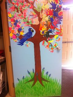 """This is a tree that was inspired for one that I saw here in Pinterest, I add our school pet """"Periquito Azul"""" and some bluebonnets, our texan flower"""