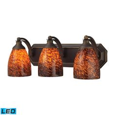 Bath And Spa 3 Light LED Vanity In Aged Bronze And Espresso Glass by Elk Lighting Group