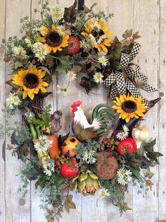 Rooster Wreath Kitchen Wreath Summer Wreath Indoor by spratsdesign