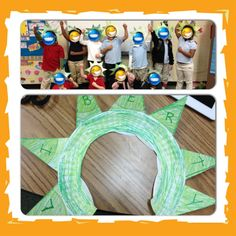Statue of Liberty Hats: 2 paper plates; color both, cut middle circle out of one; divide 2nd plate into 8 equal parts, glue 7 of the parts behind brim of 2nd plate; cut gap in bottom to fit head like a headband