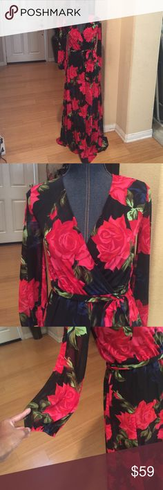 Maxi Long sleeve mesh print dress. 100% polyester made in USA. I have. 1- small 1- medium 1- large. Auditions Dresses Maxi