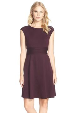 Eliza J Pintucked Waist Seamed Ponte Knit Fit & Flare Dress $98.00 Nordstrom