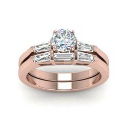 IGI Certified 1 Ct Round Cut Diamond Engagement Band Set Solid 18K Rose Gold 6 8 #Handmade