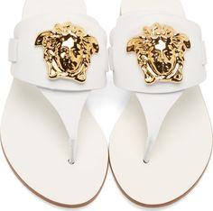 Versace en cuir blanc Medusa Logo Sandales