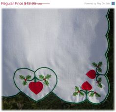 Vintage White Embroidered Runner with Red Heart by YeOleEmporium, $10.36