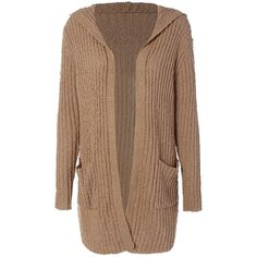Ribbed Double Pockets Hooded Cardigan ($29) ❤ liked on Polyvore featuring tops, cardigans, hooded top, brown cardigan, cardigan top, ribbed top and ribbed cardigan