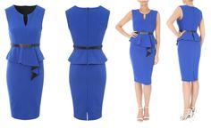 Cobalt Belted Rib Peplum Dress