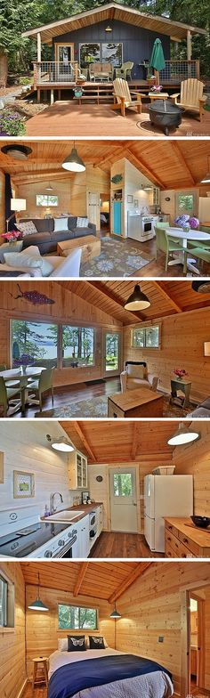 Nice A 528 sq ft cabin in Langley, Washington This is such great inspiration for a future cabin build. It may be small but has a fantastic use of space. The post A 528 sq ft cabin in Langl . Tiny Cabins, Tiny House Cabin, Cabins And Cottages, Tiny House Living, Tiny House Design, Small House Plans, Small Guest Houses, Small Lake Houses, Tiny Beach House