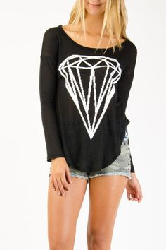 Diamond Graphic Long Sleeve Knit Top  $10.99 ~ need this!
