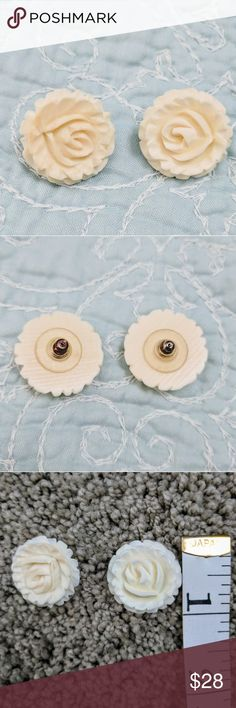 Vintage Carved Rose Earrings Really not sure what the material is.  Found in a relative's home. Jewelry Earrings