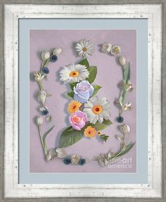 """Invite flowers into your home with a print © Nancy Lee Moran on Fine Art America. Click the image of """"Daisies, Roses, And Tulips"""" to see it, then choose your own mat, frame, and print size. This three-inch frame is #BWM3 in Whitewash (in the """"White"""" drop-down menu). Mat is French Blue, two inches wide. Print size as shown is 24 x 18 inches. #summer #spring #flowers #roses #daisies #tulip #cornflowers #leaves #lavender #blue #FineArtAmerica #NancyLeeMoran #floralart #countrylife #print #frame"""