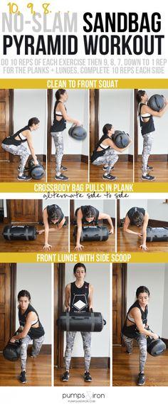 No-Slam Sandbag Pyramid Workout