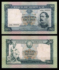 Notas de Portugal e Estrangeiro World Paper Money and Banknotes: Portugal 50 Escudos 1960 - Pick 164
