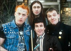 The Young Ones Cult favorite British TV show about 4 very different flat mates. It was played on MTV, as I recall, and then the early days of Comedy Central. British Sitcoms, British Comedy, English Comedy, Neil Young, Humor Ingles, Rik Mayall, We Will Rock You, Old Tv Shows, Young Ones