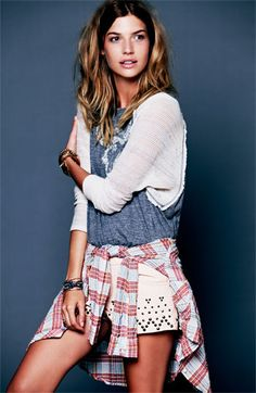 Free People 'Midwest' Textured Plaid Shirt, Ragtime Raglan, Studded Shorts