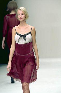 Prada | Spring 2000 Ready-to-Wear | 70 White/purple strappy mini dress