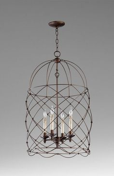 """Bird Cages Collection 4-Light 31"""" Oiled Bronze Wrought Iron Pendant 04756"""