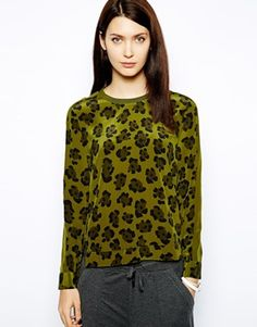 Whistles Silk Sweat in Leopard Print