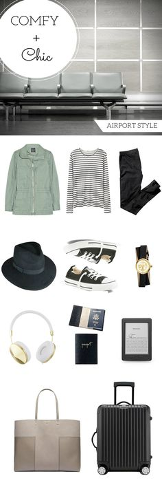 What to pack for a comfy and chic airport style. The art of traveling chic so you arrive in style. Comfortable and stylish airplane outfit.