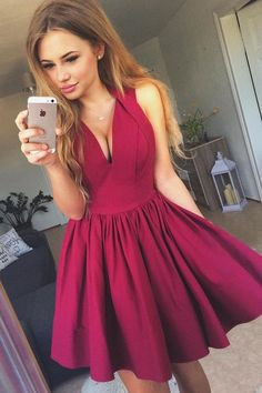 Elegant Prom Dresses, A-Line V-Neck Short Burgundy Satin Homecoming Dress with Pleats Shop for La Femme prom dresses. Elegant long designer gowns, sexy cocktail dresses, short semi-formal dresses, and party dresses. Short Red Prom Dresses, 2 Piece Homecoming Dresses, Burgundy Homecoming Dresses, Elegant Bridesmaid Dresses, Short Prom, Dress Prom, Prom Gowns, Wedding Dresses, Graduation Dresses