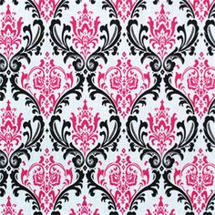 This is a pink andblack floral medallion 7 oz cotton drapery fabric by Premier Prints, suitable for drapery treatments, bedding, decorative pillows, headboards or lightweight upholstery.v117TNFTHIS ITEM USUALLY SHIPS WITHINONE WEEK FROM THE ORDER DATE.
