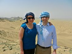 Emily Rostkowski, Arts '05, and Jimmy Tobyne Arts, '03, took part in a diplomatic delegation from Georgetown University to the Kingdom of Saudi Arabia. For 10 days they visited companies, universities and organizations and had conversations with government officials, business leaders and academics. This photo was taken atop a dune near the Arabian Desert city of Jeddah. Video of their trip: http://youtu.be/UGk6-E0ab_A