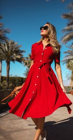 red short sleeve button down shirt dress with waist belt, white loafers, tan straw woven box bag, oversized cat eye sunglasses Winter Dresses, Day Dresses, Dress Outfits, Fashion Dresses, Summer Dresses, Summer Outfits, Red Dress Outfit Casual, Dress Red, Red Shirt Dress