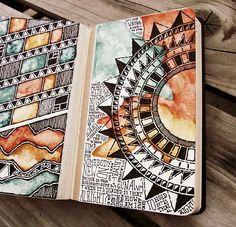 Moleskine 02, #057. Mandala, zentangle pattern and lettering in moleskine journal. Warm tone, earthy paints.:
