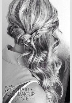 half up side swept braid