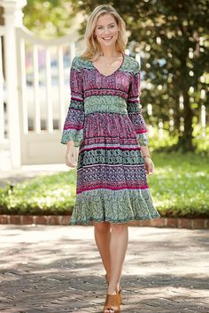 Bell Sleeve Crinkle Dress: Classic Women's Clothing from #ChadwicksofBoston $39.99